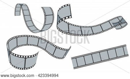 Realistic Film Strips Collection Isolated On White Background. Retro 35mm Foto And Movie Film Roll V