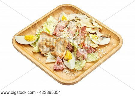 Chicken Salad. Traditional Caesar Salad With Grilled Chicken And Parmesan On A Wood Plate. File Cont