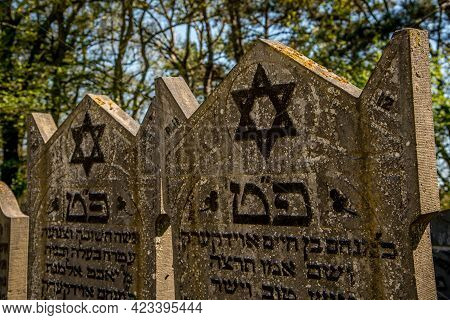 Den Helder, The Netherlands. June 3, 2021.the Old Dilapidated Graves Of The Jewish Cemetery In Den H