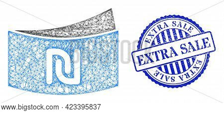 Vector Net Shekel Banknote Model, And Extra Sale Blue Rosette Corroded Stamp Seal. Crossed Frame Net