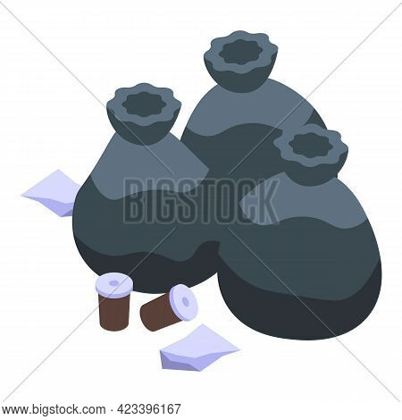 Garbage Bags Icon. Isometric Of Garbage Bags Vector Icon For Web Design Isolated On White Background