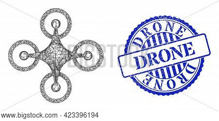 Vector Net Quadrocopter Carcass, And Drone Blue Rosette Unclean Watermark. Crossed Carcass Net Image