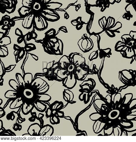 Black Daisies, Dahlias Flower Seamless Pattern On Khaki Background. Daisy Field. Ditsy Floral Patter