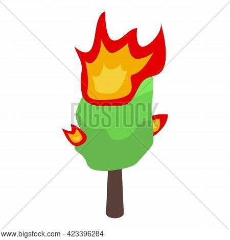 Burning Forest Tree Icon. Isometric Of Burning Forest Tree Vector Icon For Web Design Isolated On Wh