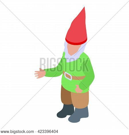 Gnome In Green Coat Icon. Isometric Of Gnome In Green Coat Vector Icon For Web Design Isolated On Wh