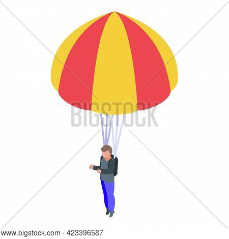 Man With Parachute Icon. Isometric Of Man With Parachute Vector Icon For Web Design Isolated On Whit