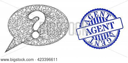 Vector Crossing Mesh Unknown Message Frame, And Agent Blue Rosette Dirty Seal Print. Hatched Frame N