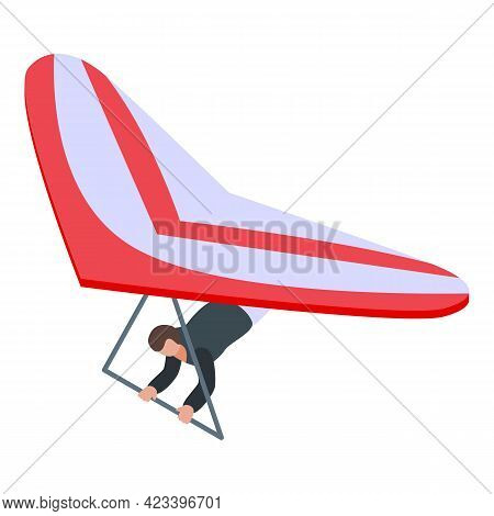 Red Paraglider Icon. Isometric Of Red Paraglider Vector Icon For Web Design Isolated On White Backgr