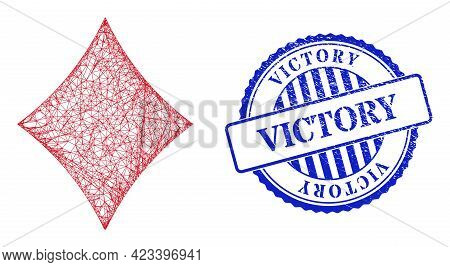 Vector Net Playing Card Diamond Suit Framework, And Victory Blue Rosette Scratched Stamp Seal. Cross