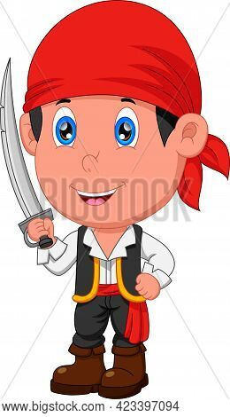 Pirate Boy Posing And Holding A Sword On White Background