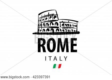 Vector Drawing Of The Colosseum In Rome On A White Background