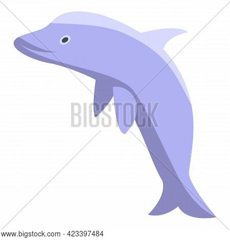 Cute Dolphin Icon. Isometric Of Cute Dolphin Vector Icon For Web Design Isolated On White Background