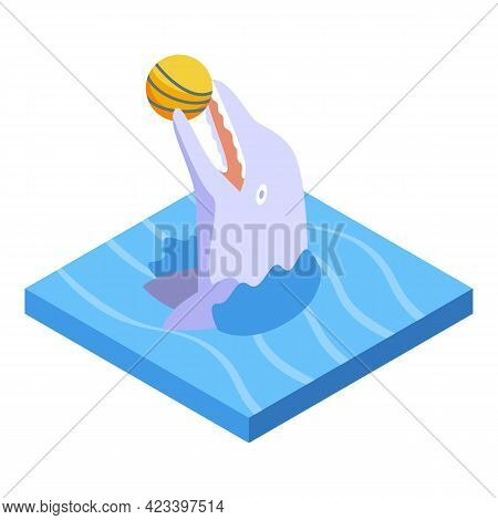 Dolphin With Ball Icon. Isometric Of Dolphin With Ball Vector Icon For Web Design Isolated On White