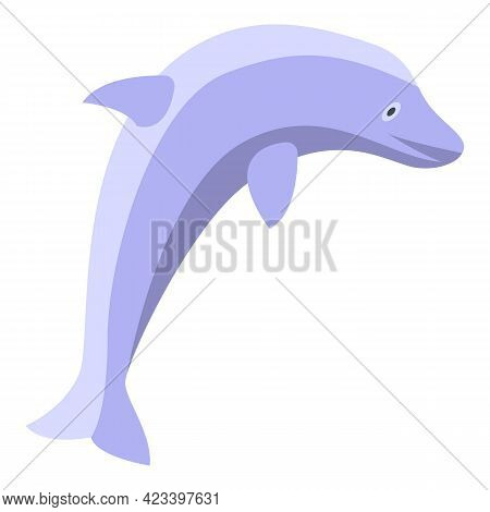 Jumping Dolphin Icon. Isometric Of Jumping Dolphin Vector Icon For Web Design Isolated On White Back
