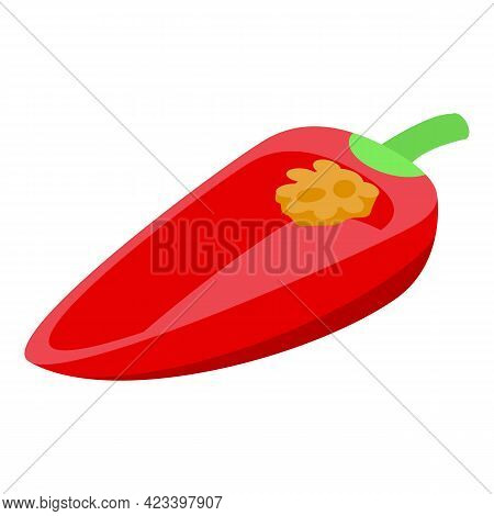 Slice Of Red Paprika Icon. Isometric Of Slice Of Red Paprika Vector Icon For Web Design Isolated On