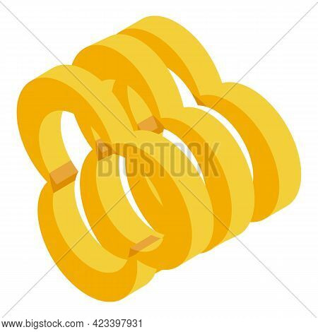 Pieces Of Yellow Paprika Icon. Isometric Of Pieces Of Yellow Paprika Vector Icon For Web Design Isol
