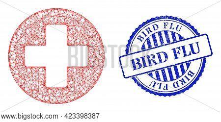 Vector Net Mesh Healthcare Frame, And Bird Flu Blue Rosette Grunge Watermark. Crossed Carcass Net Sy