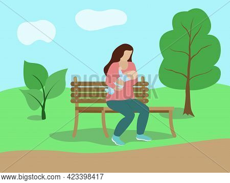Breastfeeding In Public. Woman Feeds Baby With Her Milk In Park On Bench. Vector Flat Concept Illust