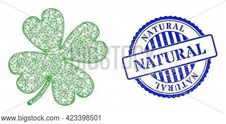 Vector Net Lucky Clover Leaf Frame, And Natural Blue Rosette Dirty Stamp. Wire Frame Net Image Desig