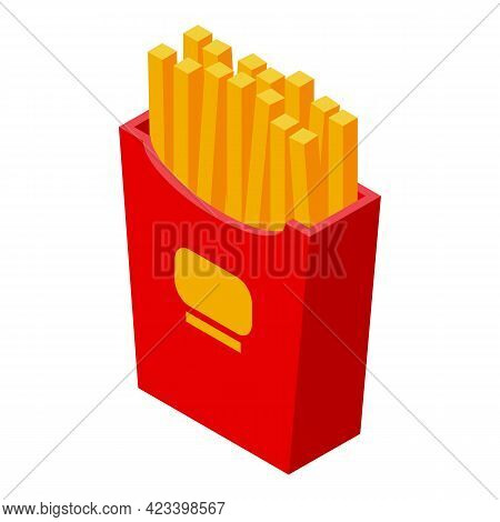 French Fries Icon. Isometric Of French Fries Vector Icon For Web Design Isolated On White Background