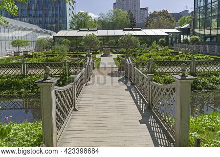 Moscow, Russia - May 16, 2021: Greenhouses And Garden With Beds For Medicinal Plants.  Aptekarsky Og