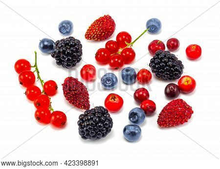 Various Fresh Summer Berries. Fresh Berries Pattern Isolated On White Background, Top View. Strawber
