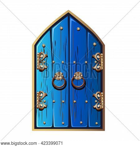 Old Fairytale Door With Forged Handles. A Double-leaf Door Painted With Blue Paint With Gold Metal D