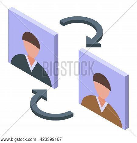 Human Resources Exchange Icon. Isometric Of Human Resources Exchange Vector Icon For Web Design Isol