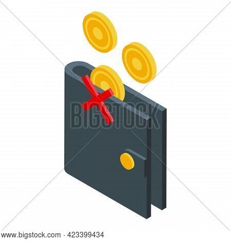 Wallet Payment Cancellation Icon. Isometric Of Wallet Payment Cancellation Vector Icon For Web Desig