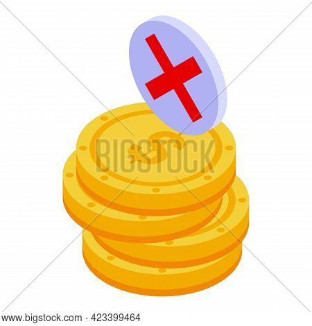 Coins Payment Cancellation Icon. Isometric Of Coins Payment Cancellation Vector Icon For Web Design