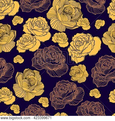 Seamless Floral Hand Drawn Detailed Pattern, Bouquet Of Flowers. Beautiful Vector Illustration Textu