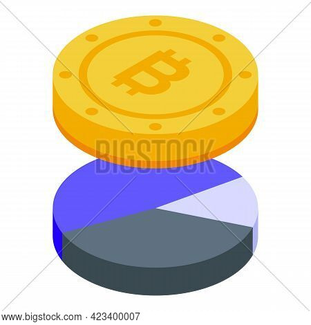 Bitcoin Result Money Icon. Isometric Of Bitcoin Result Money Vector Icon For Web Design Isolated On