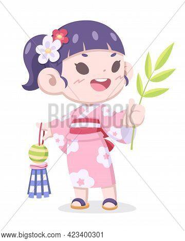 Tanabata Festival, Cute Style Japanese Girl In Traditional Kimono Dress Cartoon Illustration