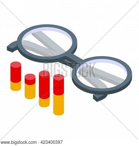 Education Workflow Eyeglasses Icon. Isometric Of Education Workflow Eyeglasses Vector Icon For Web D