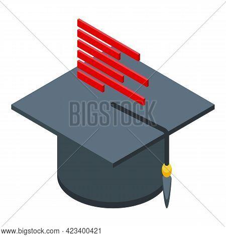 Education Workflow Graduation Hat Icon. Isometric Of Education Workflow Graduation Hat Vector Icon F