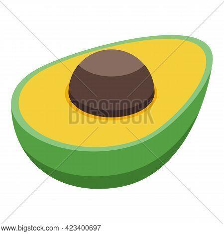 Half Avocado Icon. Isometric Of Half Avocado Vector Icon For Web Design Isolated On White Background