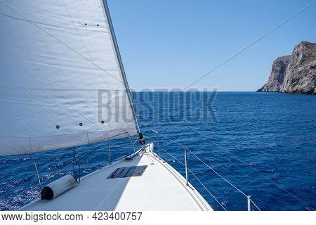 Aegean Sea Sailing, Summer Holidays In Cyclades Islands, Greece