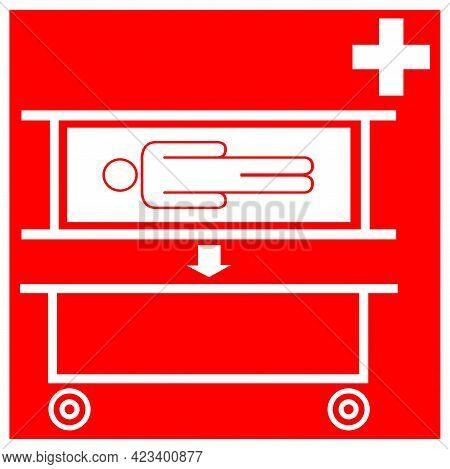 Stretcher Pick Up Point Symbol Sign, Vector Illustration, Isolate On White Background Label .eps10