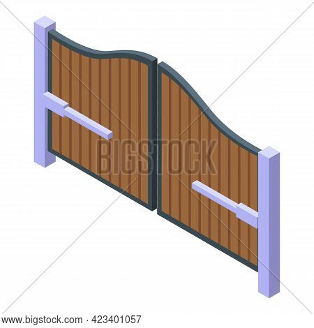 Automatic Gate Electric Icon. Isometric Of Automatic Gate Electric Vector Icon For Web Design Isolat