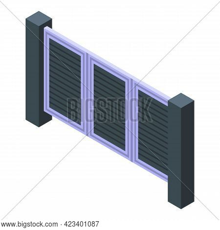 Automatic Gate Garage Icon. Isometric Of Automatic Gate Garage Vector Icon For Web Design Isolated O