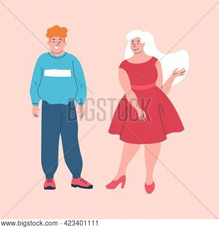 Young Smiling Male And Female Characters Wearing Baggy Clothes To Hide Their Fat On Pink Background.