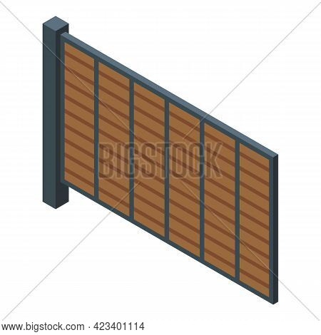 Automatic Gate Garden Icon. Isometric Of Automatic Gate Garden Vector Icon For Web Design Isolated O