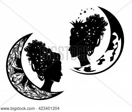 Fantasy Queen Or Princess With Rose Flowers In Hair And Crescent Moon - Night Time Fairy Tale Godmot