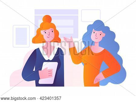 Office Scene With Two Female Characters Discussing Work Matter. Concept Of Men And Women Taking Part