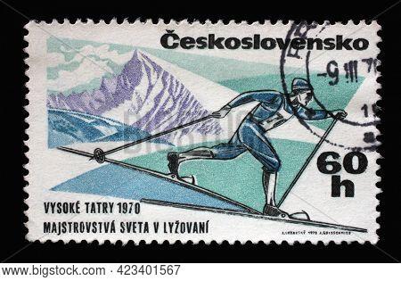 ZAGREB, CROATIA - SEPTEMBER 18, 2014: Stamp printed in Czechoslovakia shows image of long distance skier from international ski championships Tatra 1970, circa 1970