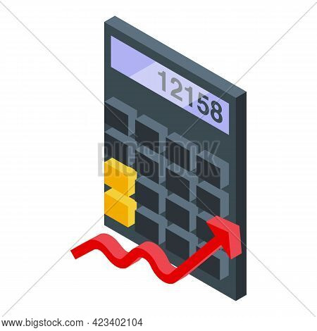 Bitcoin Calculator Icon. Isometric Of Bitcoin Calculator Vector Icon For Web Design Isolated On Whit