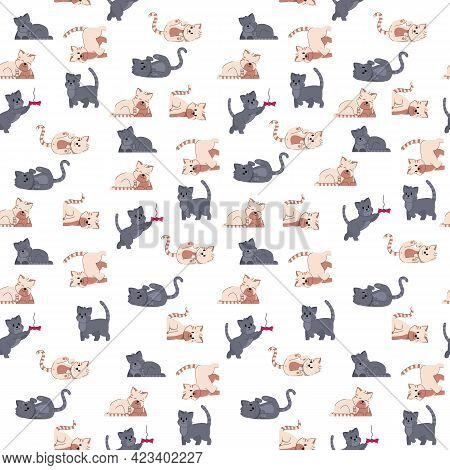 Dog Adorable Fummy Animal. Seamless Pattern Puppy Small Friends. Domestic Doggy Character Vector Ill