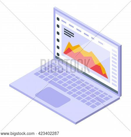 Bitcoin Laptop Trade Icon. Isometric Of Bitcoin Laptop Trade Vector Icon For Web Design Isolated On
