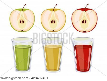 Three Glasses With Apple Juice. Red, Yellow And Green Apple Juice. Fruit Fresh Beverage Natural Orga