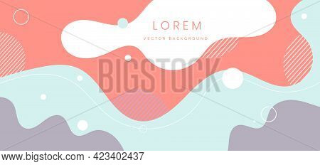 Modern Background With Fluid Shape Pastel Color And Hand Draw Line On White Background Flat Minimal
